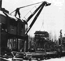 Crane loading a logging train