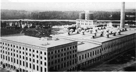 Aerial view of large Falls Paper Mill building in 1910