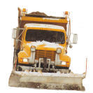 Snow plow with shovel down